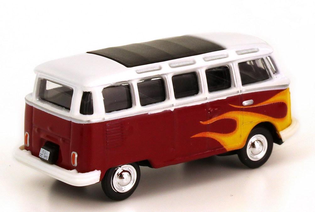 vw t1 bus samba rot wei mit flammen dekor schuco 25448 bild 2. Black Bedroom Furniture Sets. Home Design Ideas