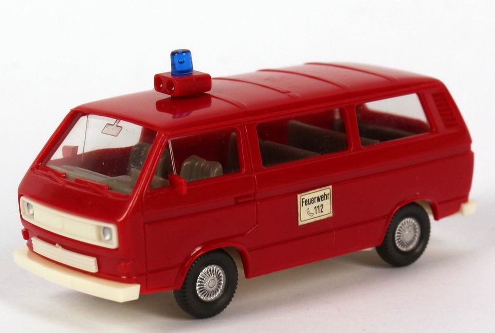 """1:87 VW T3 Bus Feuerwehr, Haftetikett """"Feuerwehr, 112"""" (oV)"""
