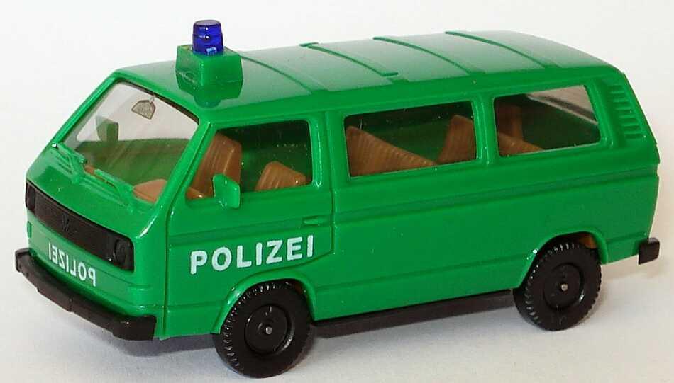 1:87 VW T3 Bus Polizei grün, Frontdruck spiegelverkehrt, Räder einteilig (oV)
