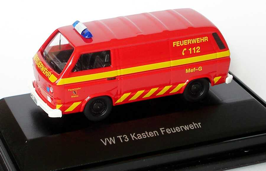 1 87 vw t3 kasten feuerwehr mainz mef g messfahrzeug gefahrstoffe schuco 452561300. Black Bedroom Furniture Sets. Home Design Ideas