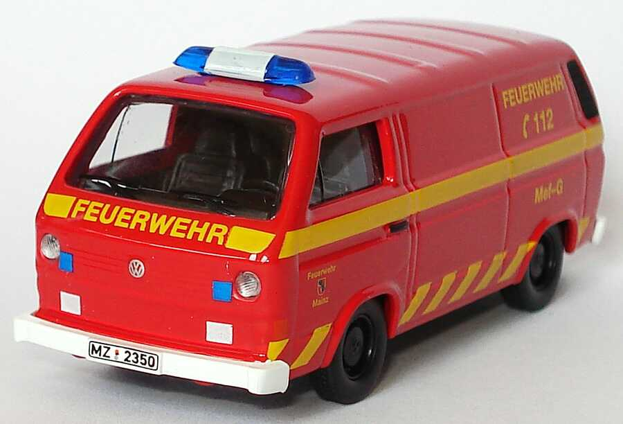 1 87 vw t3 kasten feuerwehr mainz mef g messfahrzeug gefahrstoffe schuco ebay. Black Bedroom Furniture Sets. Home Design Ideas