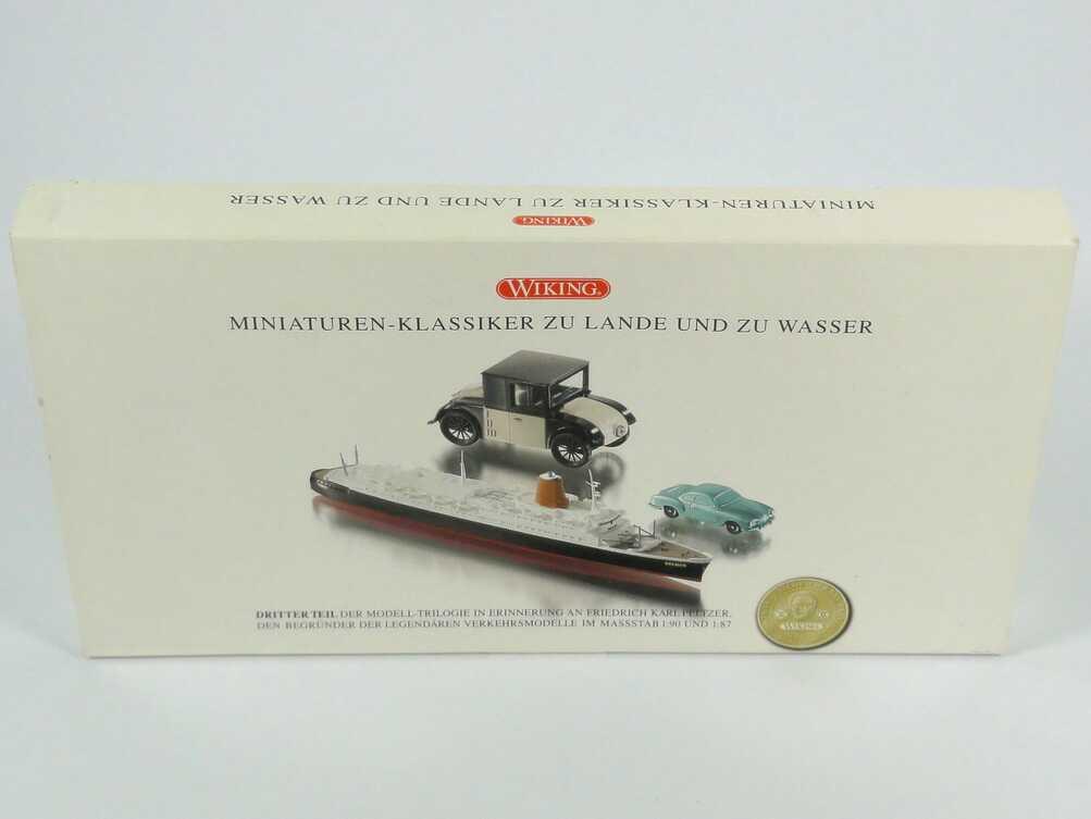 Foto 100 Jahre Peltzer III - Miniaturenklassiker zu Lande und zu Wasser (1:40 Hanomag Kommissbrot + 1:90 Karmann Ghia unverglast + 1:1250 Passagierschiff Bremen) Wiking 99034