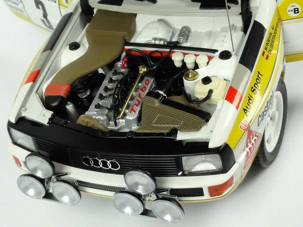 Foto 1:18 Audi Sport quattro Rallye Monte Carlo 1985 HB Audi Team Nr.3, Röhrl / Geistdörfer Werbemodell AUTOart 5031000105