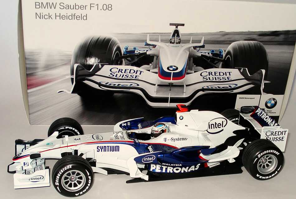Foto 1:18 BMW Sauber F1.08 Formel 1 2008 Petronas Nr.3, Nick Heidfeld Werbemodell Minichamps 80420444650