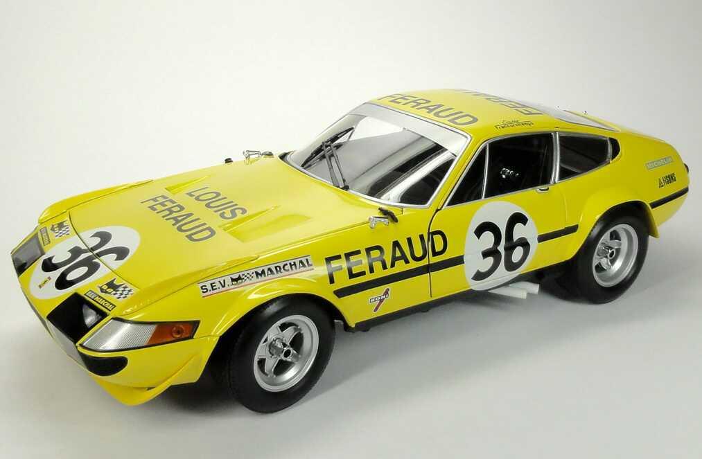 Foto 1:18 Ferrari 365 GTB/4 Competizione 24h von Le Mans 1972 gelb Nr.36, Louis Feraud Kyosho 08164G