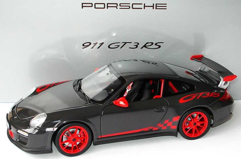 Foto 1:18 Porsche 911 GT3 RS (997, Modell 2009) grauschwarz/rot Werbemodell Norev WAP02101419