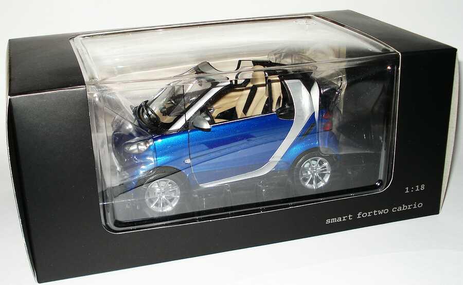 Foto 1:18 Smart Fortwo II Cabrio blau-met. Werbemodell Minichamps Q0022565V001C80Q00