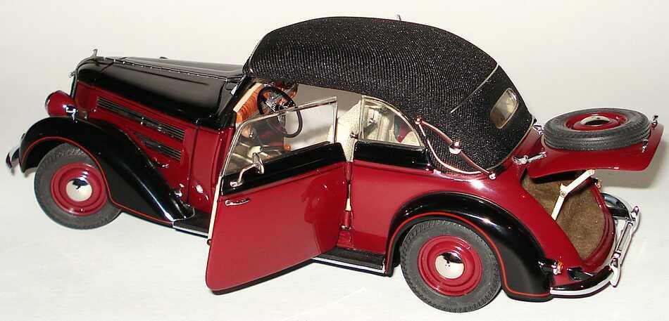Foto 1:24 Audi 920 Cabriolet (1939) weinrot/schwarz Werbemodell CMC 5030300804