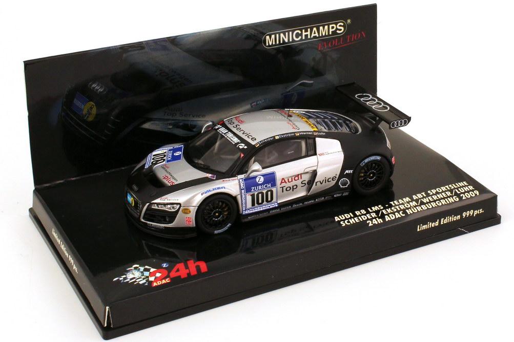 Foto 1:43 Audi R8 LMS 24 Stundenrennen Nürburgring 2009 Abt Sportsline Gebrauchtwagen:plus Nr.100 Scheider Ekström Werner Minichamps 437 091900