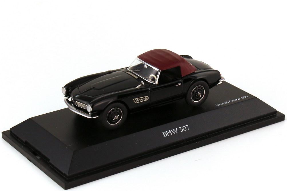 Foto 1:43 BMW 507 Roadster schwarz mit Softtop dunkelrot - Schuco 02180