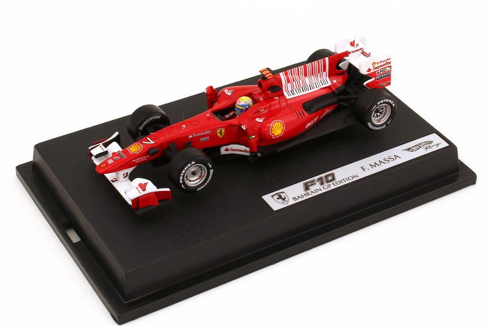 Foto 1:43 Ferrari F10 Formel 1 2010 Nr.7 Filipe Massa - Bahrain GP Edition HotWheels T6290