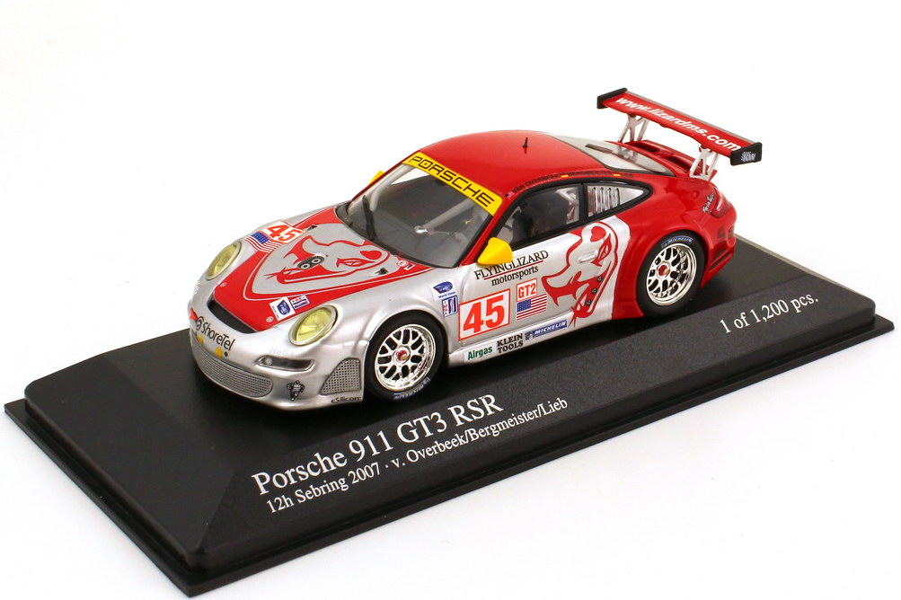 Foto 1:43 Porsche 911 GT3 RSR 997 12h Sebring 2007 Flying Lizard Motorsports Nr.45 van Overbeek Bergmeister Lieb Minichamps 400 076445