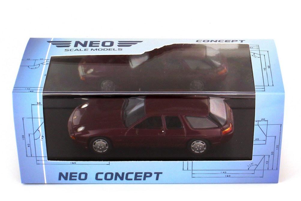 Foto 1:43 Porsche 928 H 50 Studie 1987 dunkelrot-met. - NEO Scale Models 47130
