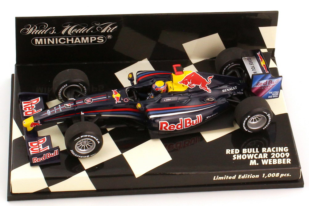 Foto 1:43 Red Bull Racing Renault Showcar Formel 1 2009 Nr.14 Mark Webber - Minichamps 400090084