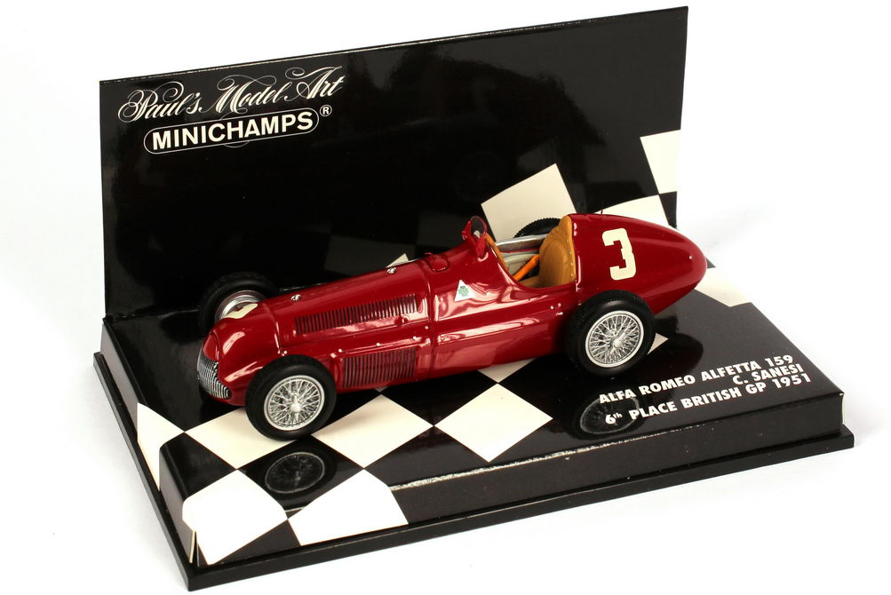 Foto 1:43 Alfa Romeo Alfetta 159 Formel 1 1951 Nr.3, C. Sanesi (British GP, 6. Platz) Minichamps 400511203