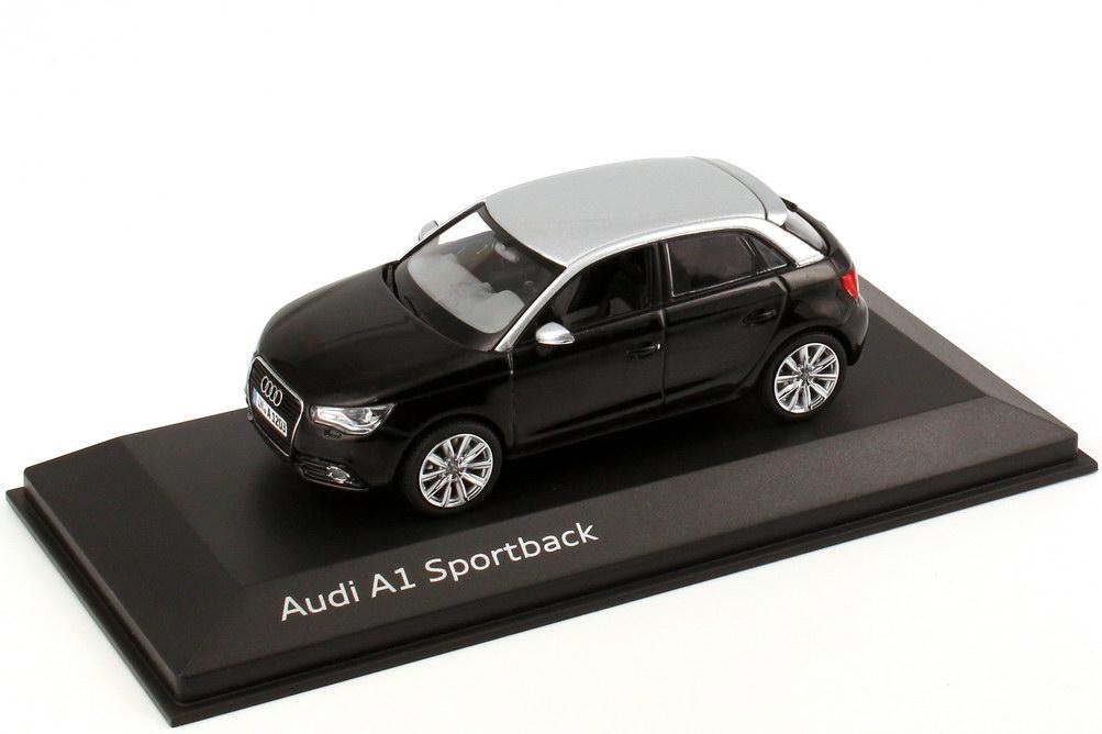 Foto 1:43 Audi A1 Sportback phantom-schwarz-met. / eis-silber-met. Werbemodell Kyosho 5011201033