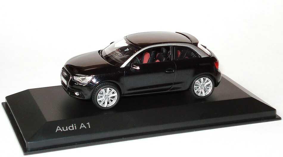 Foto 1:43 Audi A1 phantomschwarz-met. Werbemodell Kyosho 5011001033