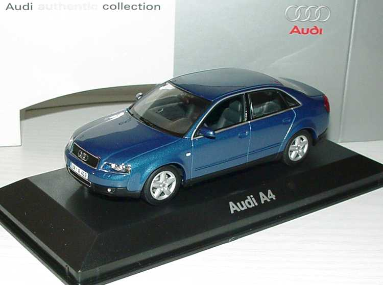 Foto 1:43 Audi A4 3.0 quattro (B6) denimblau Werbemodell Minichamps 5010004113
