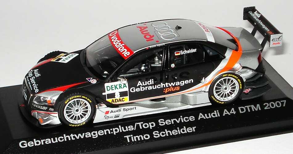 Foto 1:43 Audi A4 DTM 2007 Audi Gebrauchtwagen:plus, Top Service Nr.8, Timo Scheider Werbemodell Minichamps 5020700143