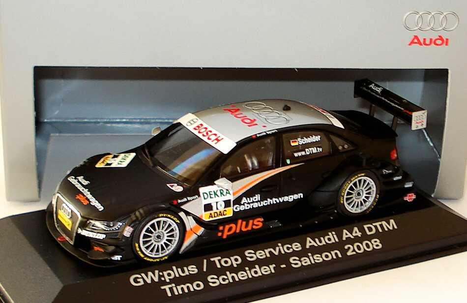 Foto 1:43 Audi A4 DTM 2008 Abt, GW:plus, Top Service Nr.10, Timo Scheider Werbemodell Minichamps 5020800113