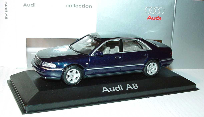 Foto 1:43 Audi A8 (D2 Facelift 2001) santorinblau-met. Werbemodell Minichamps 20000000615003