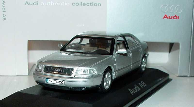 Foto 1:43 Audi A8 (D2 Facelift 2001) silber-met. Werbemodell Minichamps 20000000615001