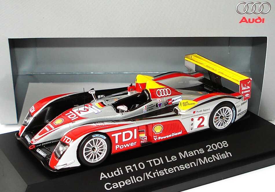 Foto 1:43 Audi R10 TDI 24h von Le Mans 2008 Nr.2, Capello / Kristensen / McNish (Sieger) Werbemodell Spark 5020800223