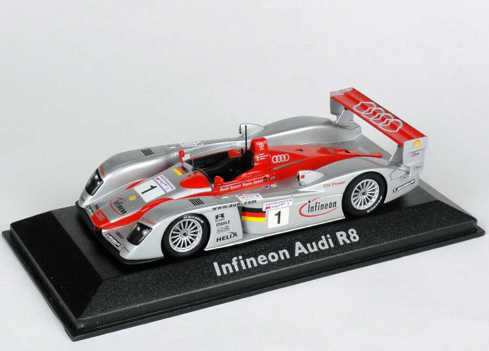 Foto 1:43 Audi R8 24h von Le Mans 2002 Nr.1, Biela/Kristensen/Pirro, Siegerfahrzeug Werbemodell Minichamps 5020200303