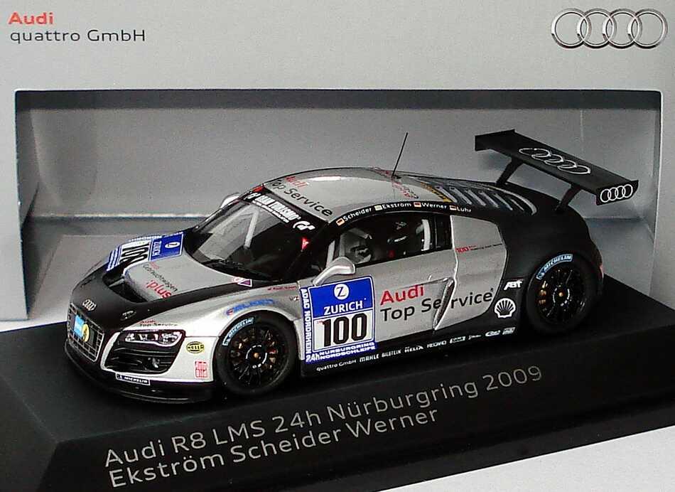 Foto 1:43 Audi R8 LMS 24 Stundenrennen Nürburgring 2009 Abt Sportsline, Gebrauchtwagen:plus Nr.100 , Scheider / Ekström / Werner Werbemodell Spark 5020918443