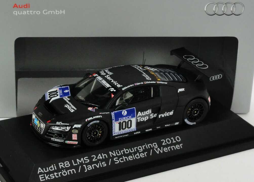 Foto 1:43 Audi R8 LMS 24 Stundenrennen Nürburgring 2010 Abt Sportsline, Audi Gebrauchtwagen :plus Nr.100, Ekström / Jarvis / Scheider / Werner Werbemodell Spark 5021018423