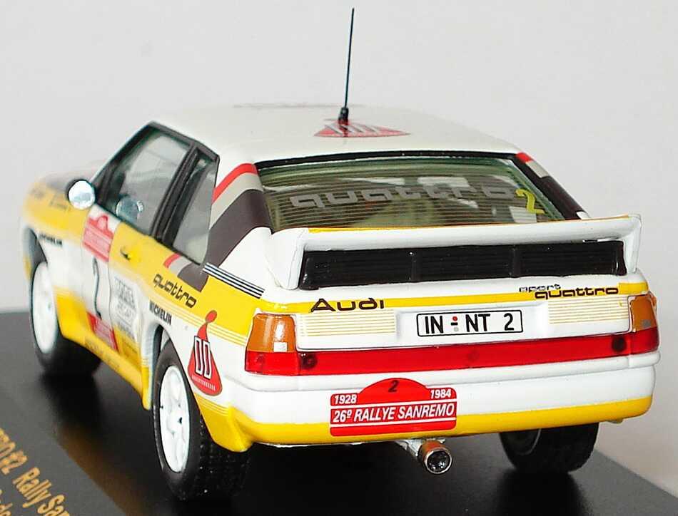 Foto 1:43 Audi Sport quattro Rally San Remo 1984 Audi Team Nr.2, Blomqvist / Cederberg Ixo RAC060