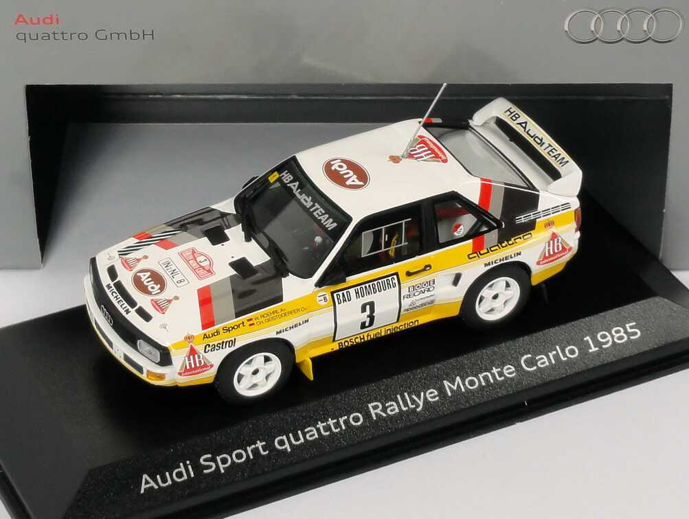 Foto 1:43 Audi Sport quattro Rallye Monte Carlo 1985 HB Audi Team Nr.3, Roehrl / Geistdörfer Werbemodell Minichamps 5030900303
