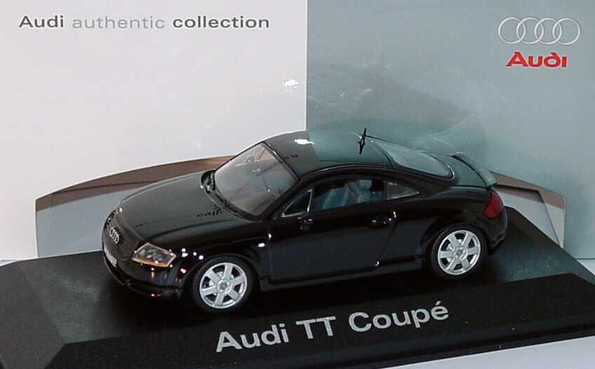 Foto 1:43 Audi TT Coupé (8N) mit Heckspoiler ebonyschwarz-met. Werbemodell Minichamps 5019800413