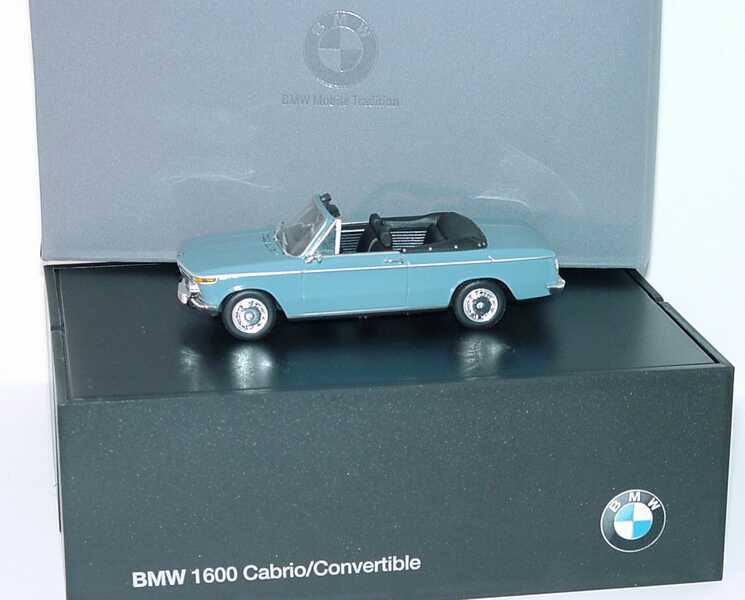 Foto 1:43 BMW 1600 Cabrio blaugrau Werbemodell Minichamps 80420396188