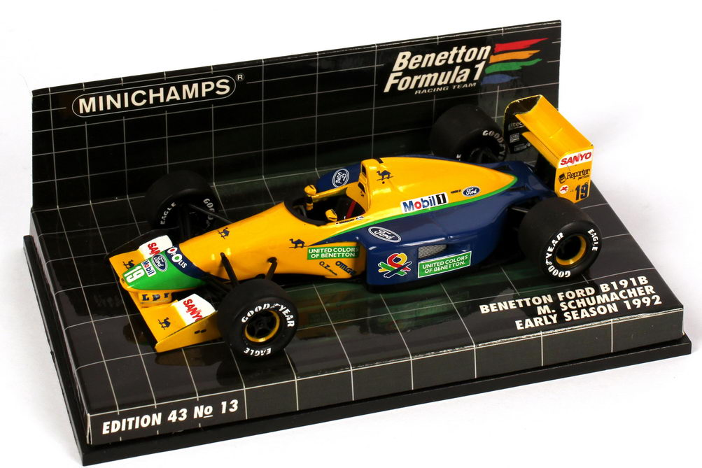 Foto 1:43 Benetton Ford B191B Formel 1 1992 Nr.19, Michael Schumacher (Early Season) Minichamps 400920119
