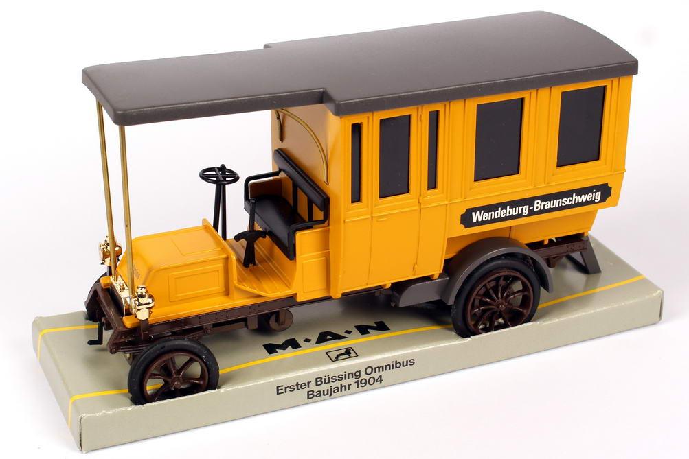 Foto 1:43 Büssing Omnibus 1904 gelb Wendeburg - Braunschweig Werbemodell Cursor