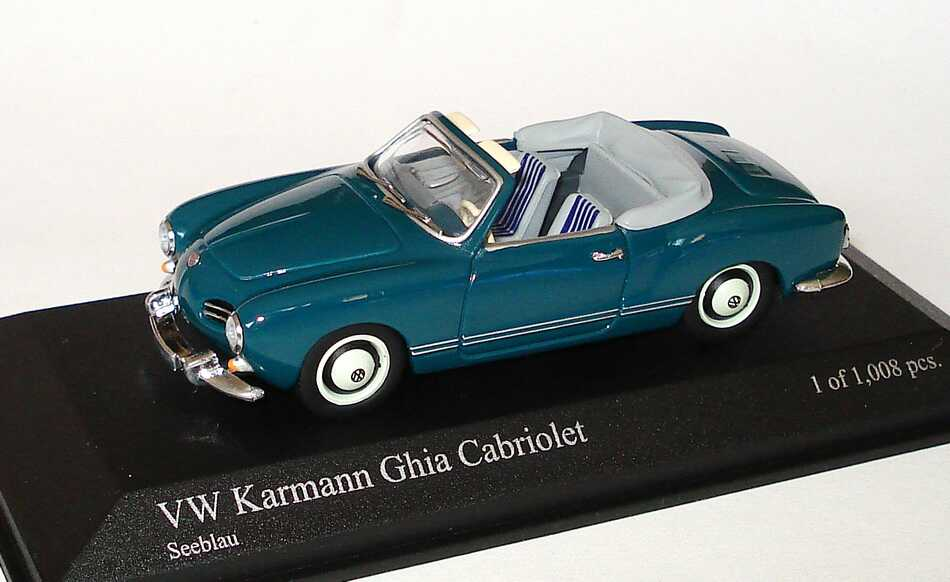 Foto 1:43 Karmann Ghia Cabrio seeblau Minichamps 000099300032/430051044