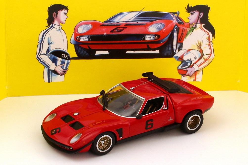 Foto 1:43 Lamborghini Jota SVR (Basis Miura) rot Nr.6 (Manga-Serie The Circuit Wolf) Kyosho 03201CW