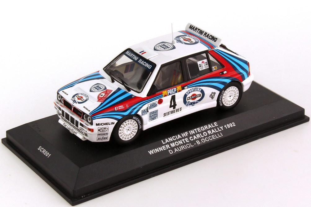 Foto 1:43 Lancia Delta HF Integrale Rally Monte Carlo 1992 Martini Nr.4 Auriol Occelli Siegerfahrzeug - Ixo SCR001