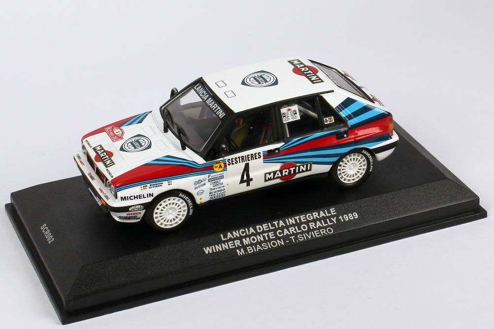 Foto 1:43 Lancia Delta Integrale Rally Monte Carlo 1989 Martini Nr.4, Biasion / Siviero (Siegerfahrzeug) Ixo SCR002