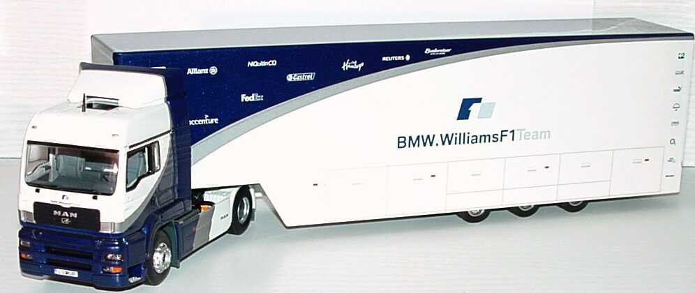 Foto 1:43 MAN TG-A XXL Fv Cv Renntransport-Szg 2/3 BMW Williams F1 Werbemodell Minichamps 80420309693