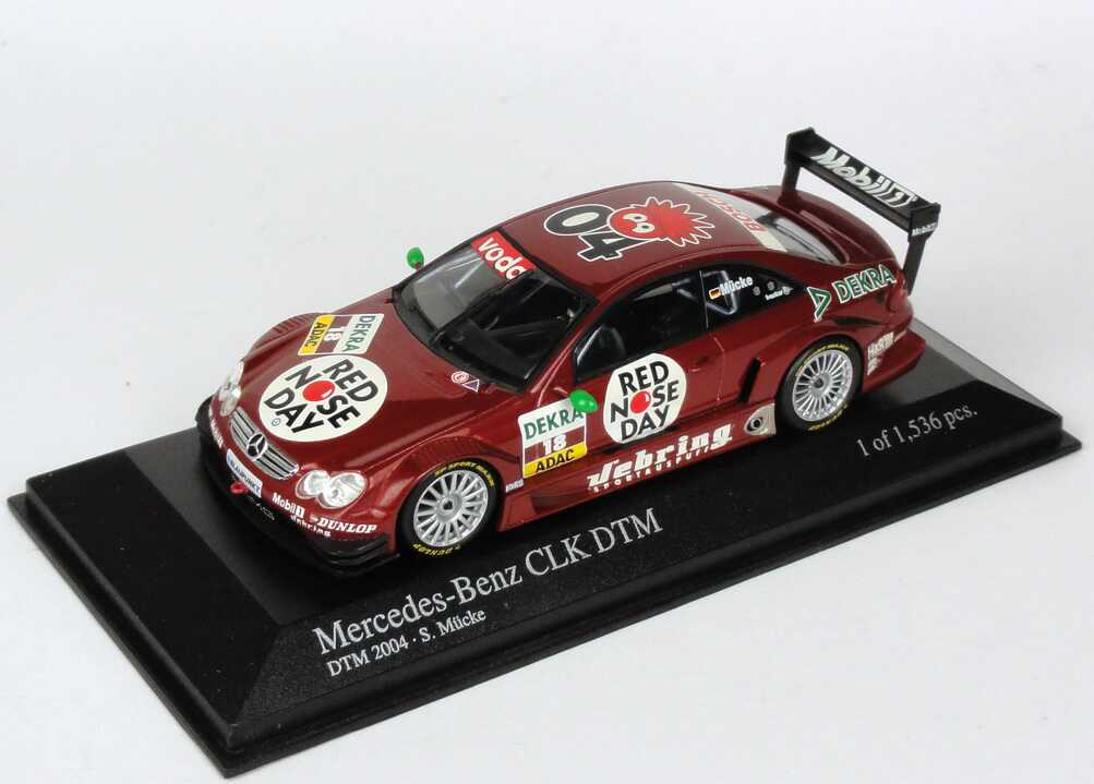 Foto 1:43 Mercedes-Benz CLK DTM 2004 Persson, Red Nose Day Nr.18, Stefan Mücke Minichamps 400043318