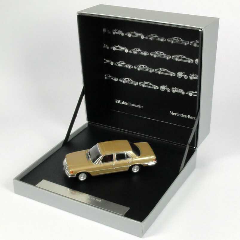 Foto 1:43 Mercedes-Benz S-Klasse 450 SEL 6.9 (W116) champagner-met. 125 Jahre Innovation Werbemodell Ixo B66041007