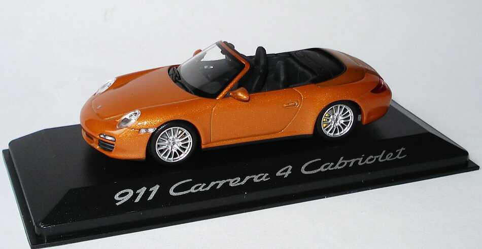 Foto 1:43 Porsche 911 Carrera 4 Cabrio (997, Modell 2009) nordischgold-met. Werbemodell Minichamps WAP02001618