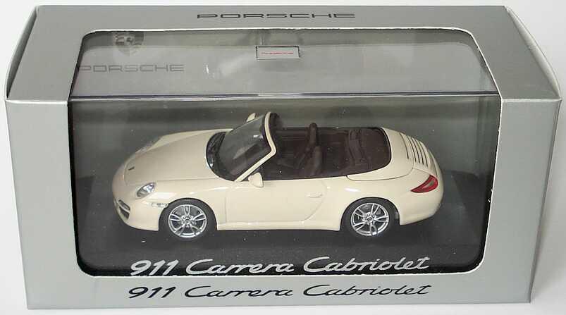 Foto 1:43 Porsche 911 Carrera Cabriolet (997, Modell 2009) cremeweiß Werbemodell Minichamps WAP02001118