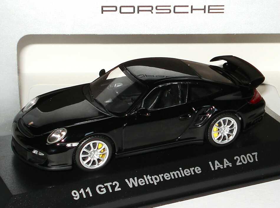 Foto 1:43 Porsche 911 GT2 (997) schwarz 911 GT2 Weltpremiere IAA 2007 Werbemodell Minichamps WAP02000118