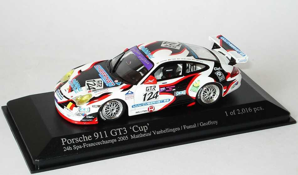 Foto 1:43 Porsche 911 GT3 Cup (996) 24h von Spa-Fancorchamps 2005 Mühlner Motorsport Nr.124, Mattheus / Vanbellingen / Fumal / Geoffreoy Minichamps 400056224