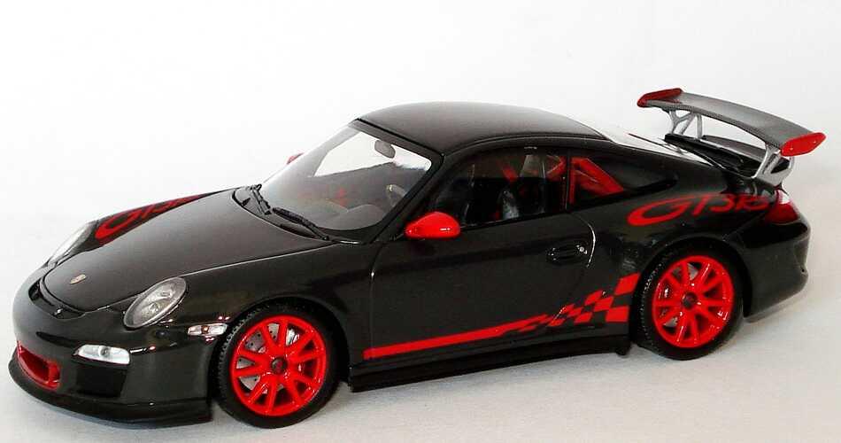 Foto 1:43 Porsche 911 GT3 RS (997, Modell 2009) grauschwarz/rot Werbemodell Minichamps WAP02001719