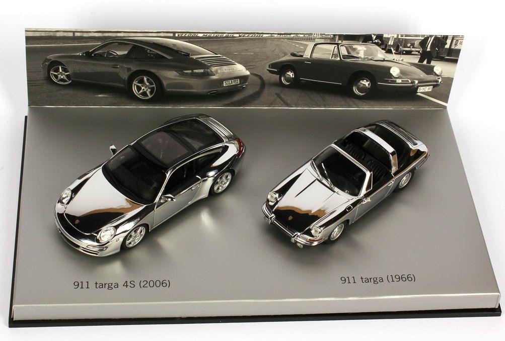 Foto 1:43 Porsche 911 targa Set (911 targa 4s 2006 + 911 targa 1966 verchromt) Werbemodell Minichamps WAP020SET16