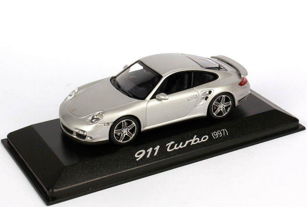 Foto 1:43 Porsche 911 turbo (997) silber-met., blaue IA Werbemodell Minichamps WAP02013216